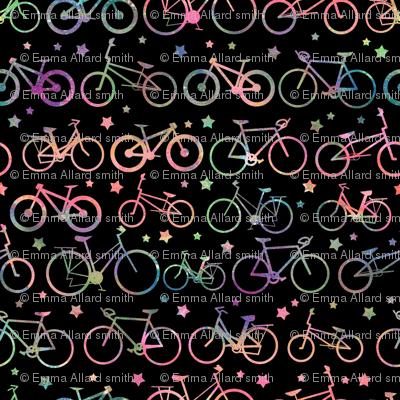 Rainbow Bicycles - black background