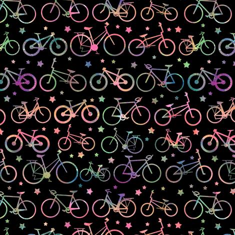 Rainbow Bicycles - black background fabric by emeryallardsmith on Spoonflower - custom fabric