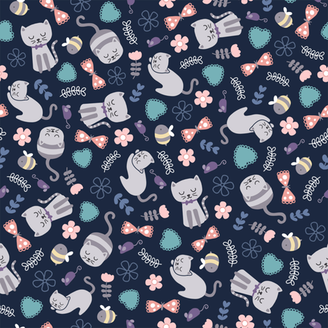 Pretty kitties fabric by twoandthree on Spoonflower - custom fabric