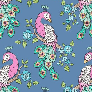 Peacock Bird with Flowers Pink on Dark Blue Navy