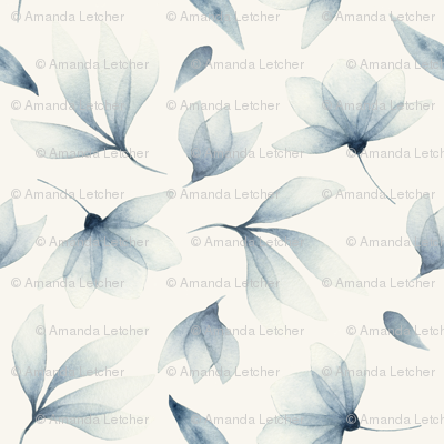navy flowers pattern