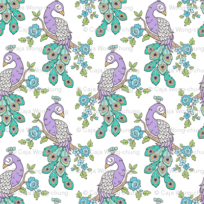 Peacock Bird Purple Lilac with Blue Flowers