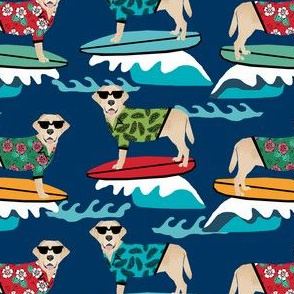 yellow lab dog surfing labrador fabric navy