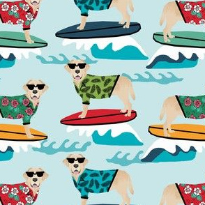 yellow lab dog surfing labrador fabric blue