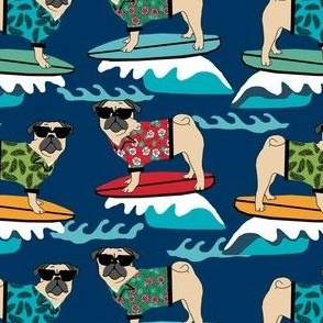 pug surfing dog breed fabric navy