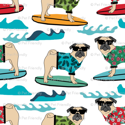 pug surfing dog breed fabric white