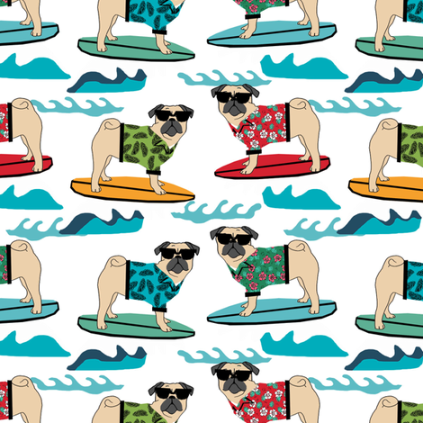 pug surfing dog breed fabric white fabric by petfriendly on Spoonflower - custom fabric