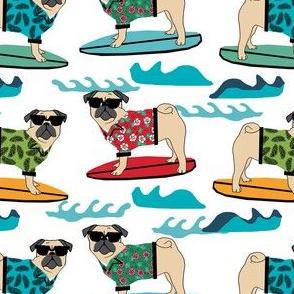pug surfing dog breed fabric white