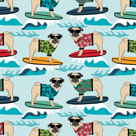 pug surfing dog breed fabric blue fabric by petfriendly on Spoonflower - custom fabric
