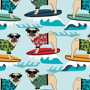 pug surfing dog breed fabric blue