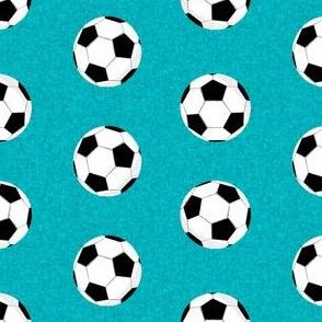 soccer ball sports fabric nursery kids teal