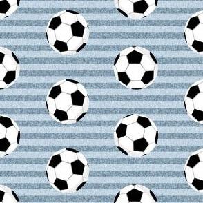 soccer ball sports fabric nursery kids blue stripe