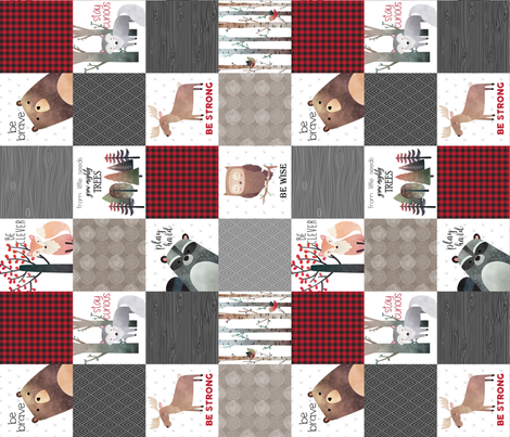 Woodland Critters Patchwork Quilt (rotated) - Bear Moose Fox Raccoon Wolf, Red, Gray & Brown Design GingerLous fabric by gingerlous on Spoonflower - custom fabric