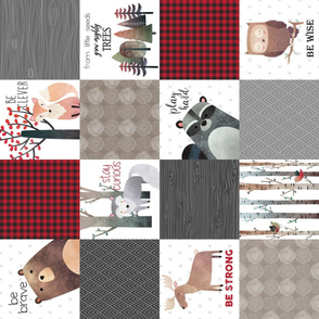 Woodland Critters Patchwork Quilt (rotated) - Bear Moose Fox Raccoon Wolf, Red, Gray & Brown Design GingerLous