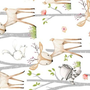 Sweet Woodland Animals (rotated) - Deer Fox Raccoon Birch Trees Flowers Baby Girl Nursery Blanket Sheets Bedding A