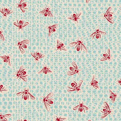 C1005_BEE PARTY-eggshell 2-R fabric by elizabethhalpern on Spoonflower - custom fabric