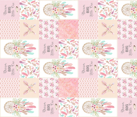 Dream Catcher Patchwork Faux Quilt (rotated)– Wholecloth for Girls Pink Mint Feathers Nursery Blanket Baby Bedding fabric by gingerlous on Spoonflower - custom fabric