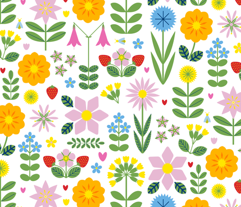 Vilda Blommor (Wildflowers) - Light fabric by lellobird on Spoonflower - custom fabric
