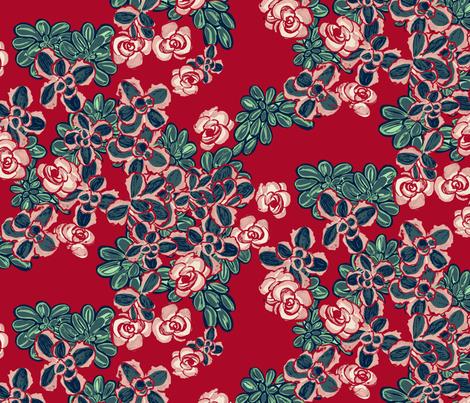 F1055_SEDUM FLORAL MIX-cherry-R fabric by elizabethhalpern on Spoonflower - custom fabric