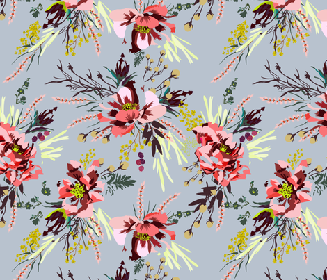 POPPY WILD GREY fabric by holli_zollinger on Spoonflower - custom fabric