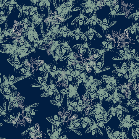 T1003_SWARM-navy-R fabric by elizabethhalpern on Spoonflower - custom fabric
