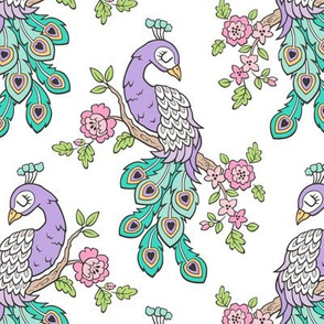 Peacock Bird with Flowers Purple Lilac on White