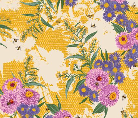 F1052_BEE BOUQUET_1-Gold-R fabric by elizabethhalpern on Spoonflower - custom fabric