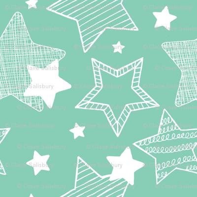 Stars - Teal & white