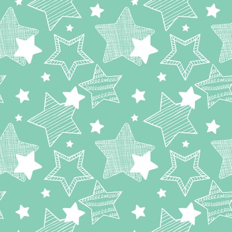Stars - Teal & white fabric by clairesalisburystudios on Spoonflower - custom fabric