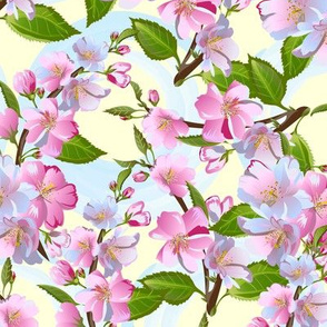 Apple-tree flowers seamless pattern, spring blossom. Retro vector background