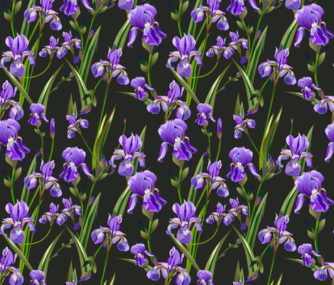 Seamless pattern with iris flowers fabric by zazulla on Spoonflower - custom fabric
