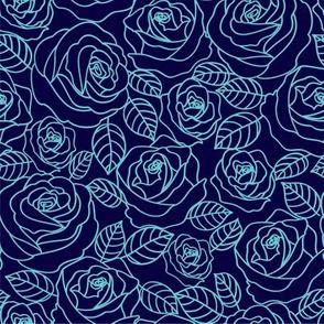 Pale blue outline roses floral pattern