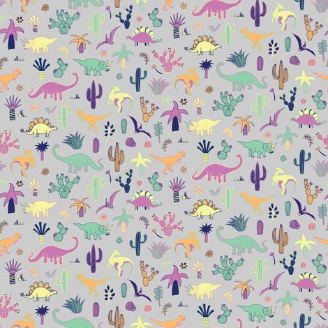 Dinosaur Desert - tiny scale fabric by cecca on Spoonflower - custom fabric