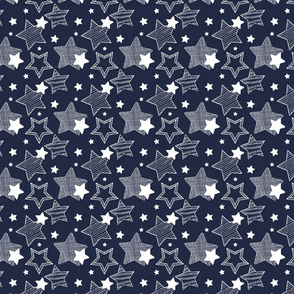Stars - Dark Blue & White