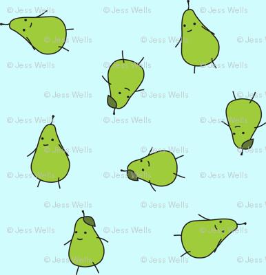 pears on light blue