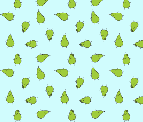 pears on light blue fabric by eleventy-five on Spoonflower - custom fabric