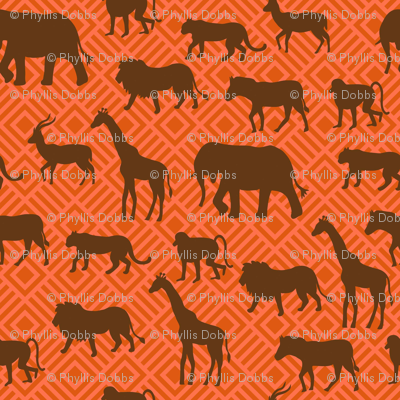 Wilds of Africa Animals Orange Brown