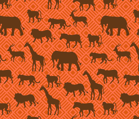 Wilds of Africa Animals Orange Brown fabric by phyllisdobbs on Spoonflower - custom fabric