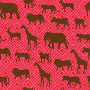 Wilds of Africa Animals Fuchsia Pink Red
