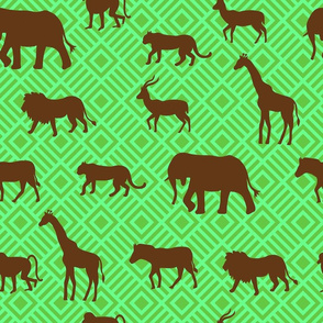 Wilds of Africa Animals Emerald Green