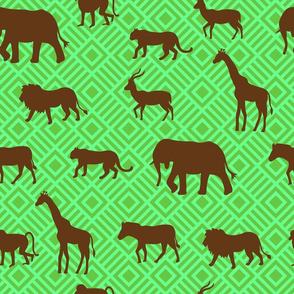 Wilds of Africa Animals Emerald Green