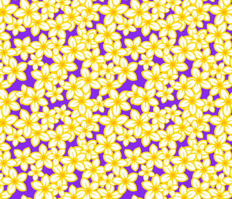 Plumeria Parade on purple fabric by madtropic on Spoonflower - custom fabric