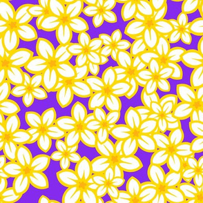 Plumeria Parade on purple