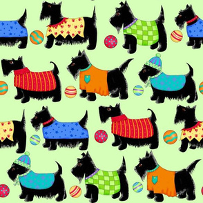 Whimsy Scotties Directional Green