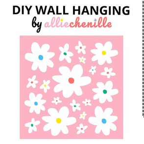 Pink white daisies DIY wall hanging cut and sew project