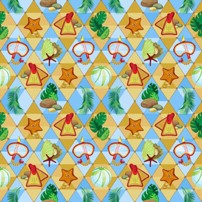 Tropical leaves, seashells and starfish with swimming equipment on the background of triangles in beach shades.