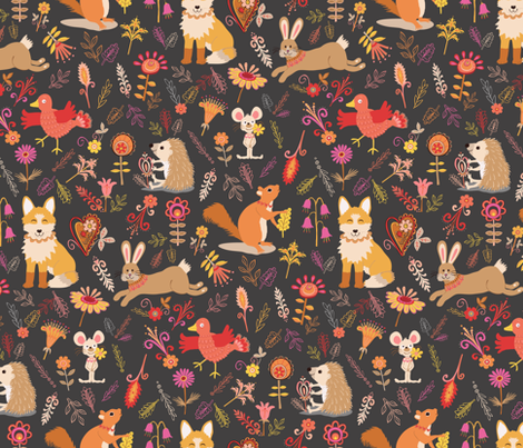 Woodland animals fabric by rachelmacdonald on Spoonflower - custom fabric