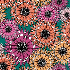 Orange and Pink Sketch Pop-Art Flowers Pattern