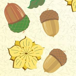 acorns foliage florets texture