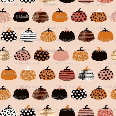 Fall fruit geometric pumpkin design scandinavian style halloween print black and peach orange